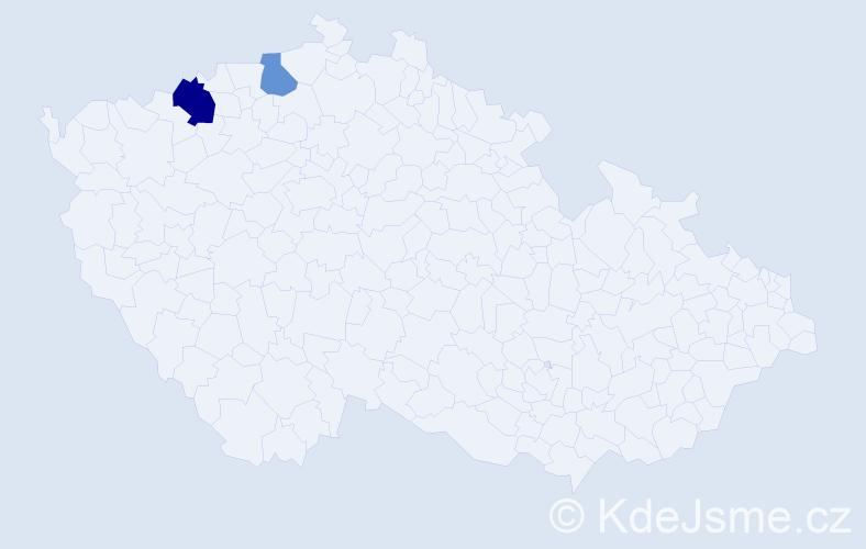 Příjmení: 'Lenič', počet výskytů 3 v celé ČR
