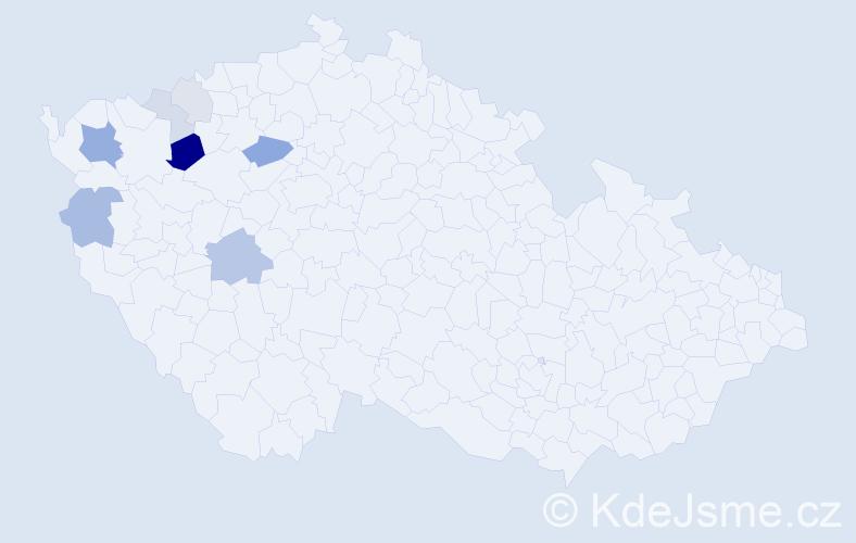 Příjmení: 'Čóka', počet výskytů 26 v celé ČR