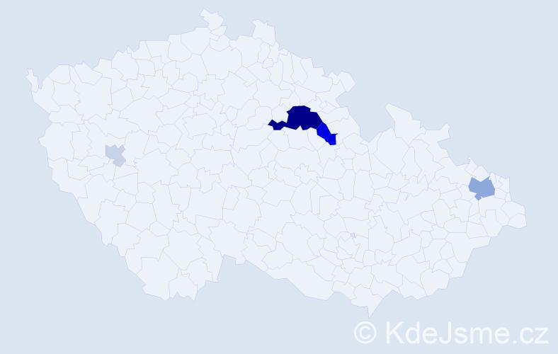 Příjmení: 'Janošičová', počet výskytů 17 v celé ČR