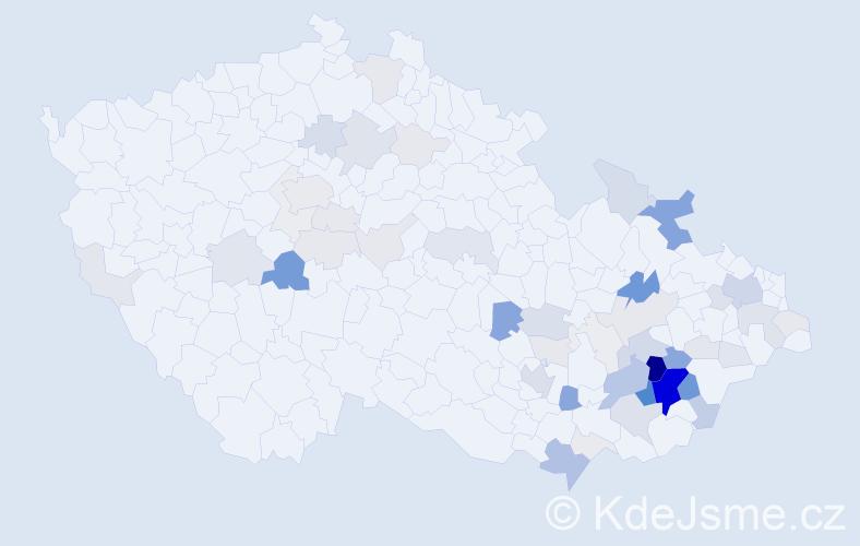 Příjmení: 'Chudárek', počet výskytů 223 v celé ČR