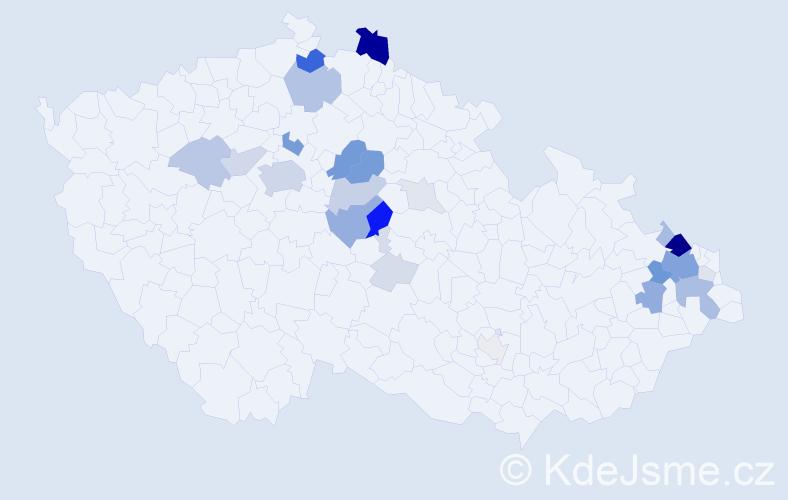 Příjmení: 'Cyrus', počet výskytů 102 v celé ČR