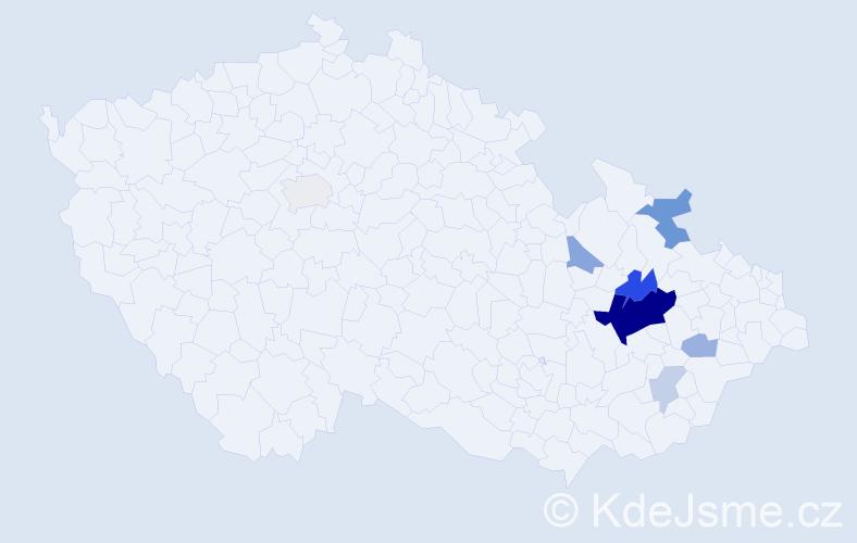 Příjmení: 'Lakva', počet výskytů 23 v celé ČR