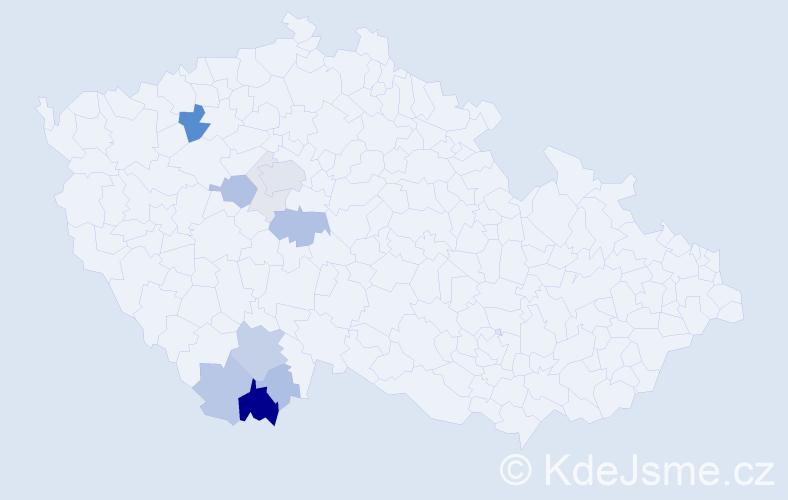 Příjmení: 'Kaloš', počet výskytů 36 v celé ČR