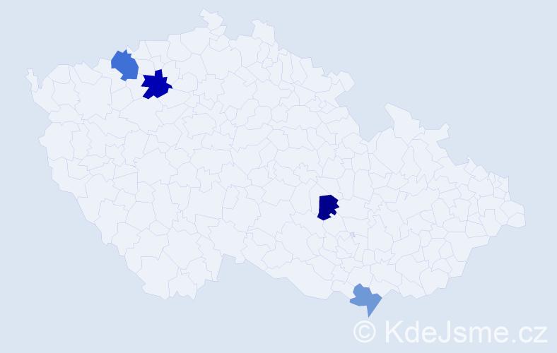 Příjmení: 'Čmuda', počet výskytů 6 v celé ČR