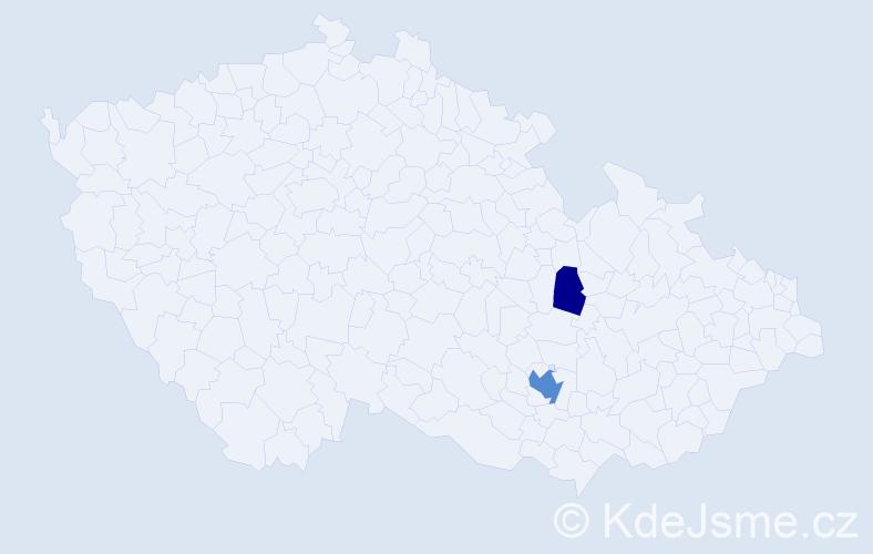 Příjmení: 'Čižiková', počet výskytů 5 v celé ČR