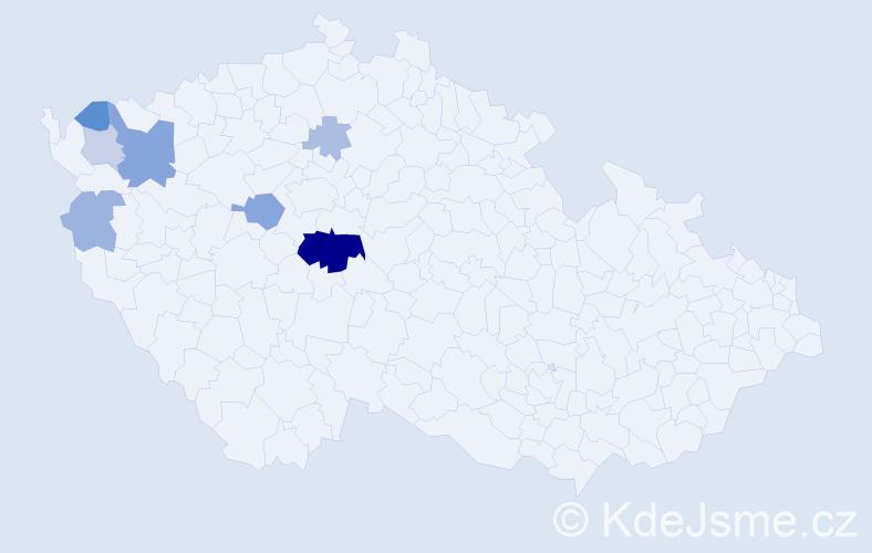 Příjmení: 'Chomická', počet výskytů 18 v celé ČR