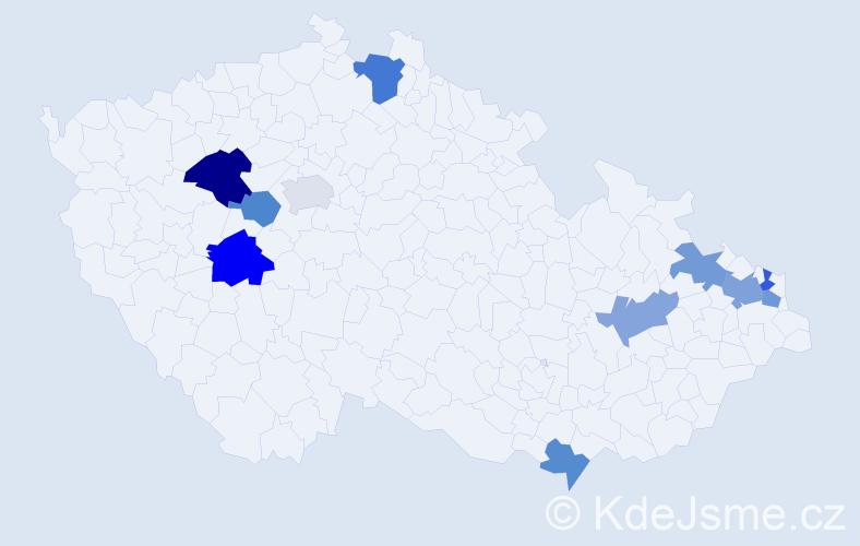 Příjmení: 'Bachleda', počet výskytů 15 v celé ČR