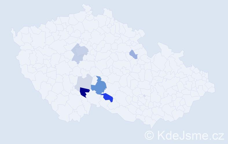 Příjmení: 'Jirousová', počet výskytů 28 v celé ČR