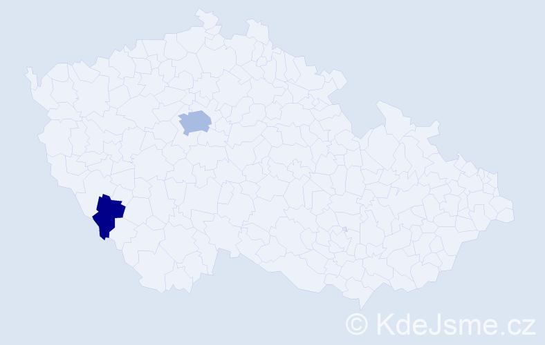 Příjmení: 'Giglová', počet výskytů 5 v celé ČR