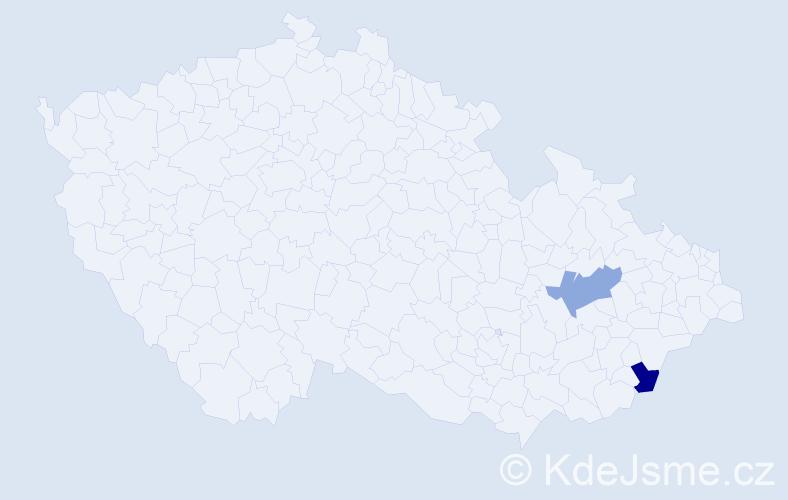 Příjmení: 'Gábíková', počet výskytů 2 v celé ČR