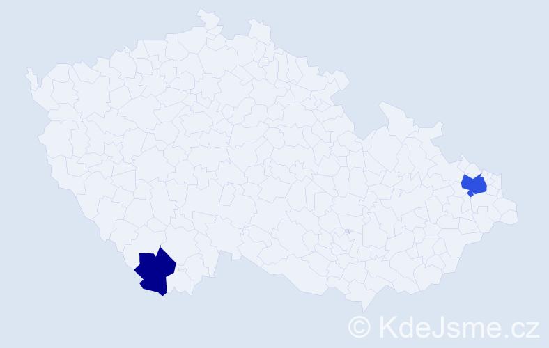 Příjmení: 'Gižická', počet výskytů 4 v celé ČR