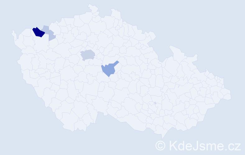 Příjmení: 'Danyo', počet výskytů 20 v celé ČR