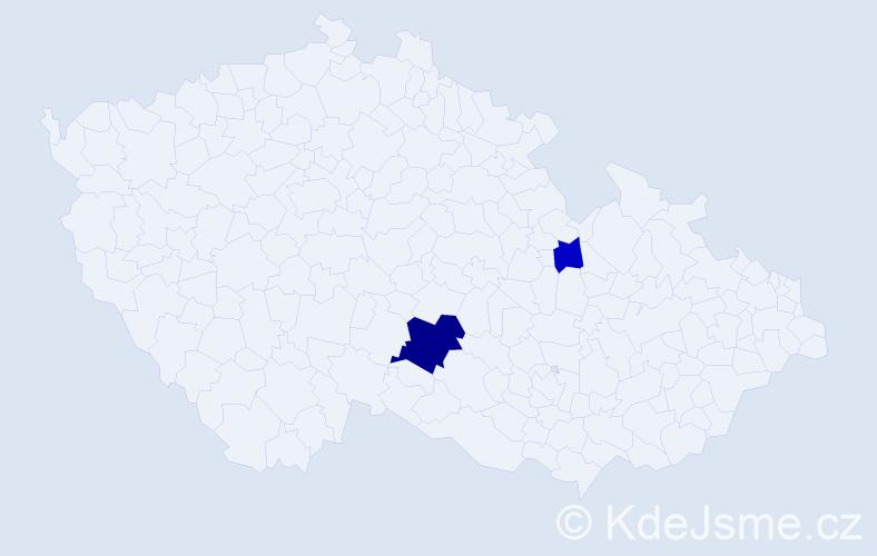 Příjmení: 'Baueršímová', počet výskytů 5 v celé ČR
