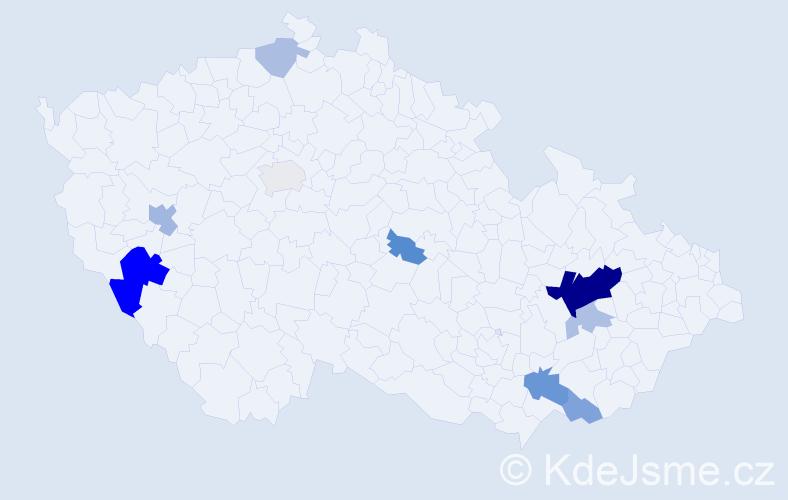 Příjmení: 'Hránková', počet výskytů 24 v celé ČR