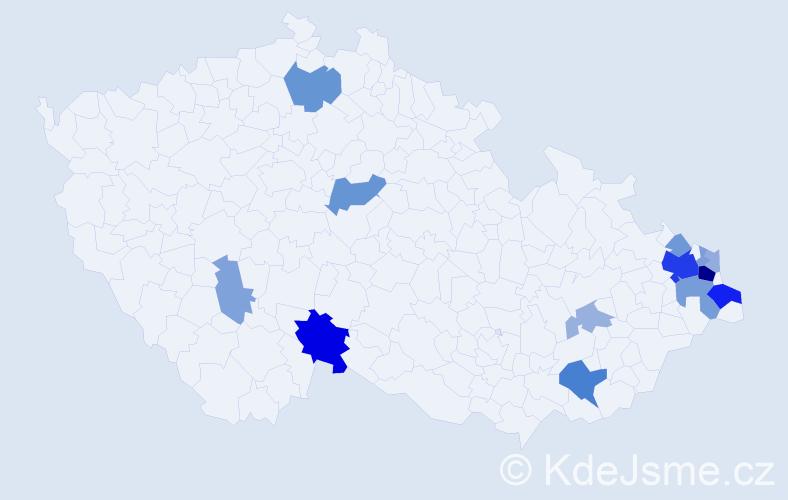 Příjmení: 'Bugajová', počet výskytů 36 v celé ČR