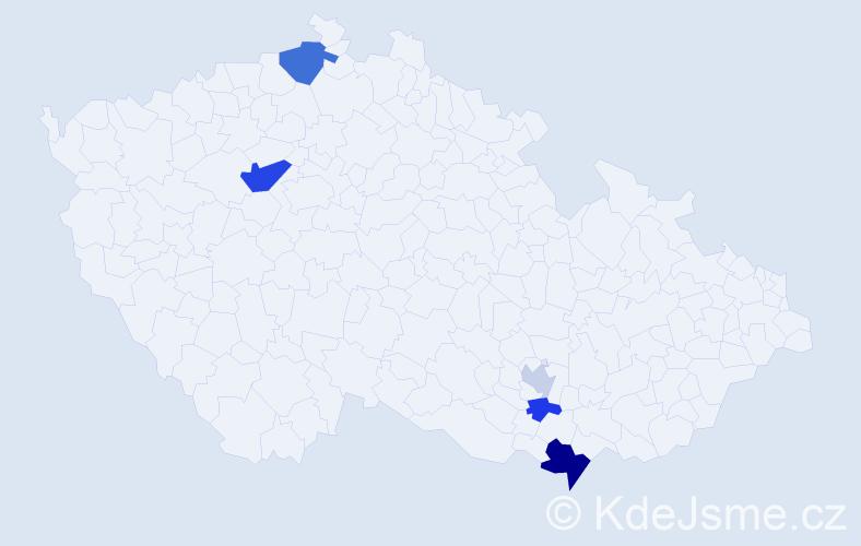 Příjmení: 'Ibrahimi', počet výskytů 10 v celé ČR