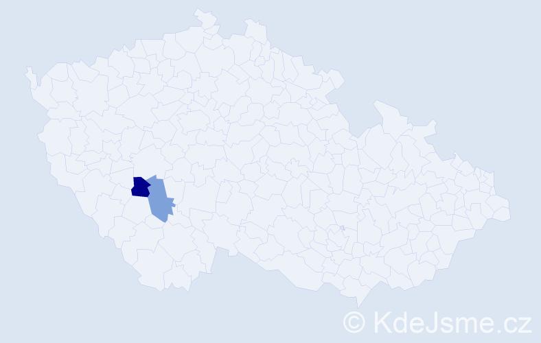 Příjmení: 'Ganěv', počet výskytů 2 v celé ČR