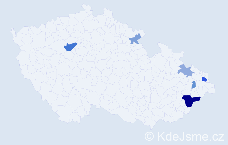 Příjmení: 'Čarnota', počet výskytů 13 v celé ČR