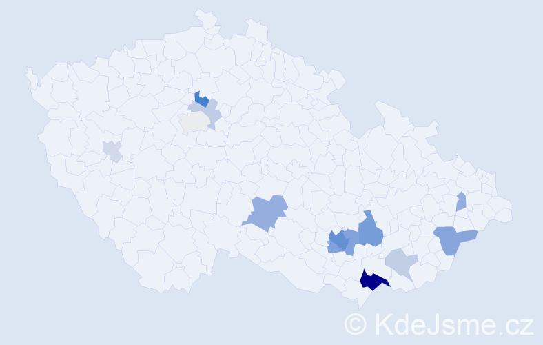 Příjmení: 'Lacka', počet výskytů 35 v celé ČR