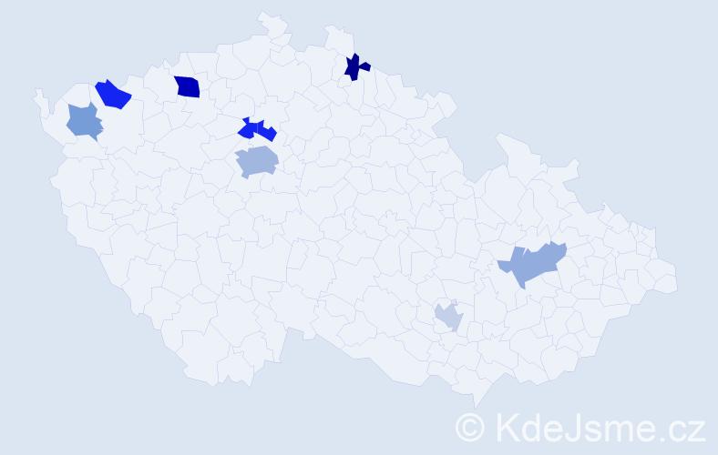 Příjmení: 'Fales', počet výskytů 15 v celé ČR