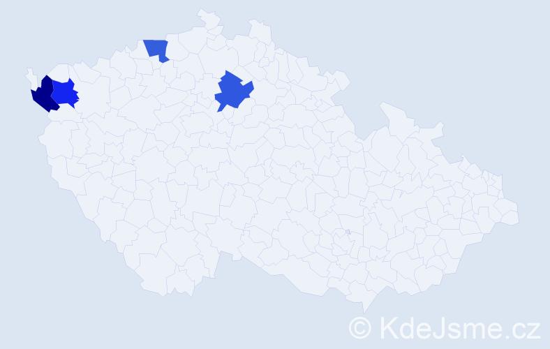 Příjmení: 'La', počet výskytů 4 v celé ČR