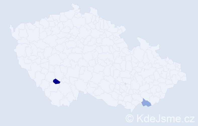 Příjmení: 'Eninger', počet výskytů 5 v celé ČR
