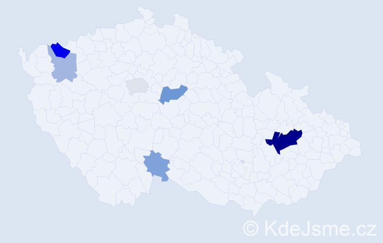 Příjmení: 'Cenker', počet výskytů 17 v celé ČR