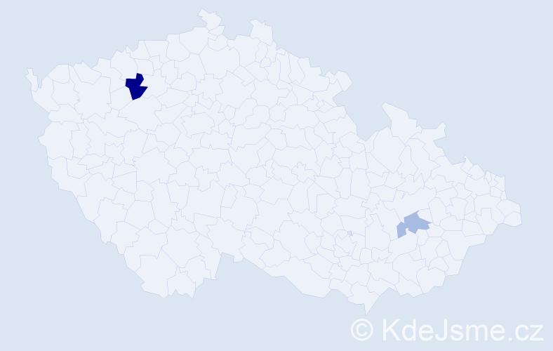 Příjmení: 'Děrka', počet výskytů 7 v celé ČR