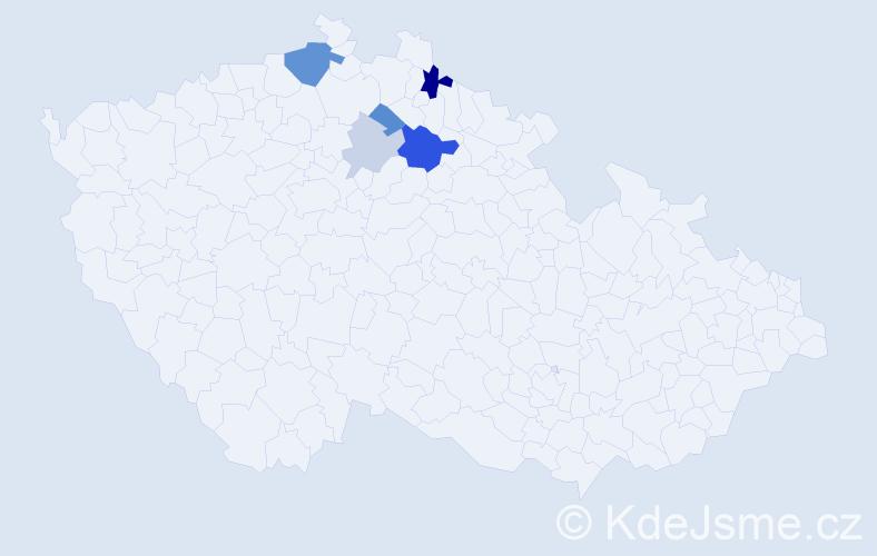 Příjmení: 'Krajcsovics', počet výskytů 13 v celé ČR