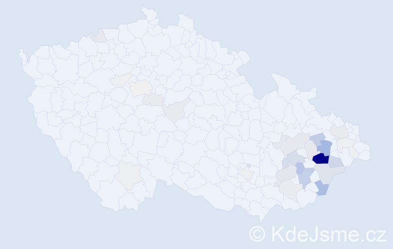 Příjmení: 'Halaštová', počet výskytů 109 v celé ČR