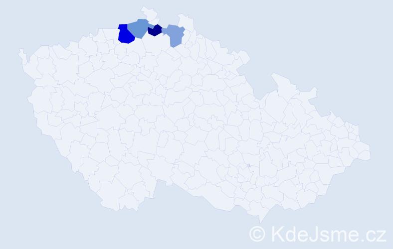 Příjmení: 'Cigány', počet výskytů 6 v celé ČR