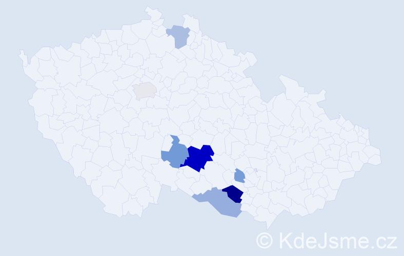 Příjmení: 'Cáha', počet výskytů 22 v celé ČR