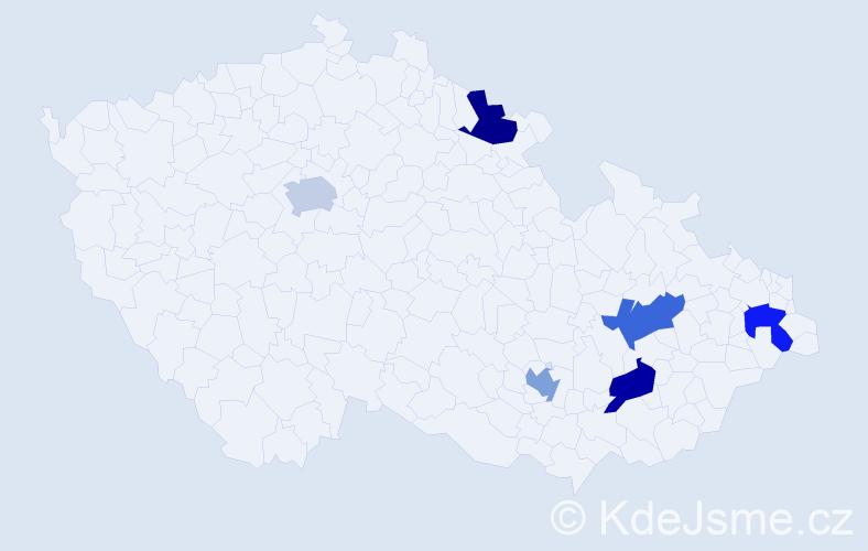 Příjmení: 'Alexejev', počet výskytů 6 v celé ČR