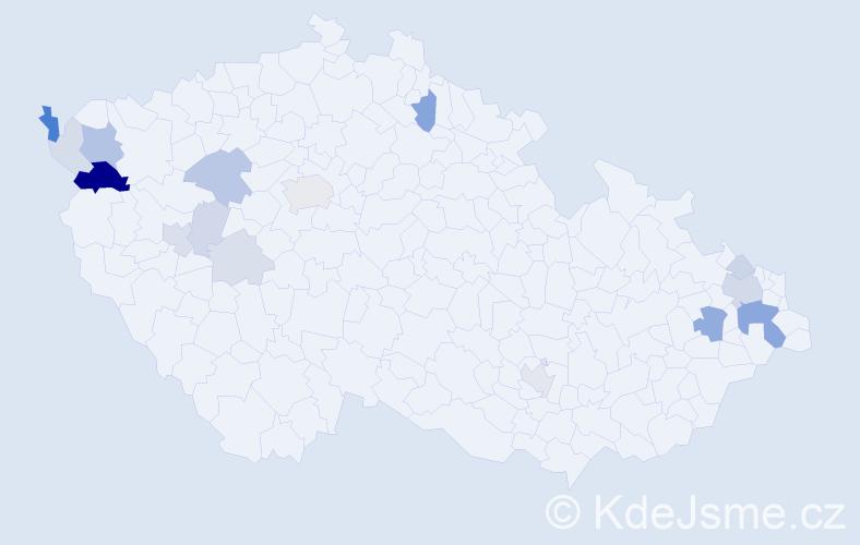 Příjmení: 'Brillová', počet výskytů 43 v celé ČR