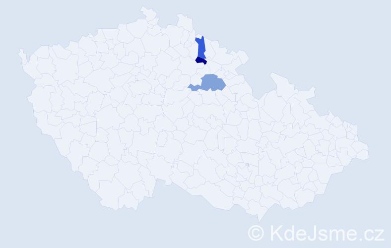 Příjmení: 'Jezsó', počet výskytů 4 v celé ČR