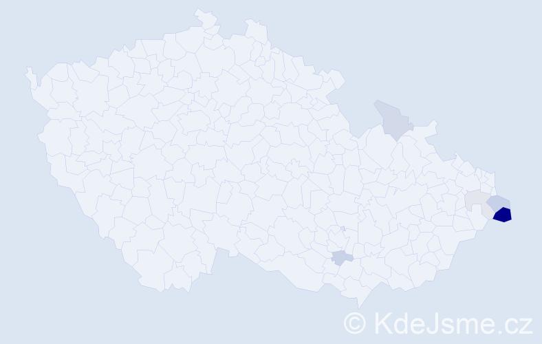 Příjmení: 'Cyhan', počet výskytů 14 v celé ČR