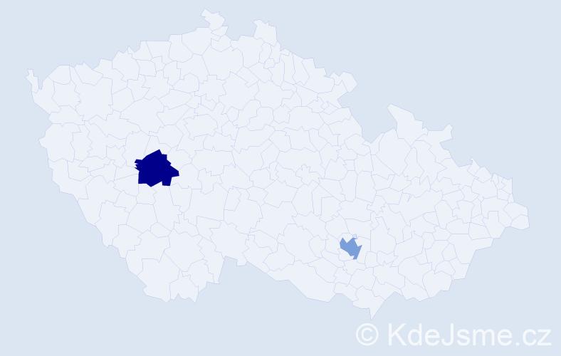Příjmení: 'Ege', počet výskytů 6 v celé ČR