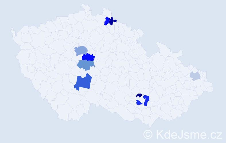 Příjmení: 'Dražďák', počet výskytů 19 v celé ČR