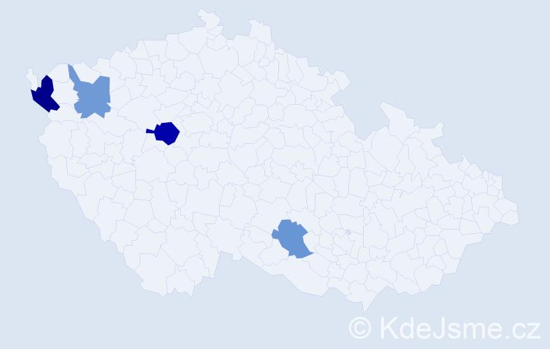 Příjmení: 'Čik', počet výskytů 6 v celé ČR