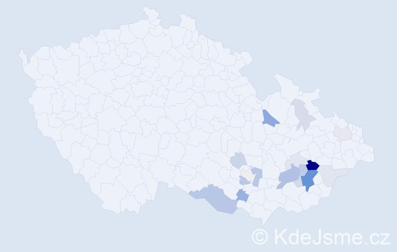 Příjmení: 'Botík', počet výskytů 45 v celé ČR