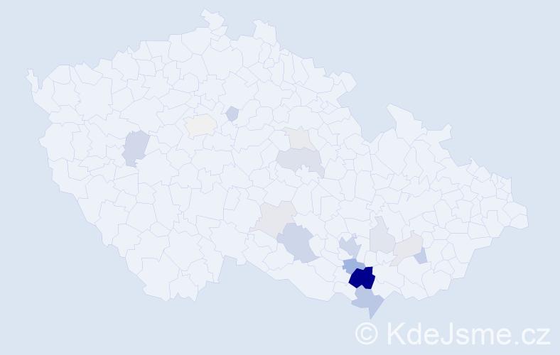 Příjmení: 'Hádlíková', počet výskytů 53 v celé ČR