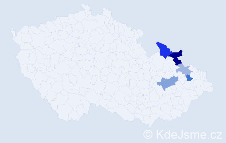 Příjmení: 'Bilička', počet výskytů 9 v celé ČR