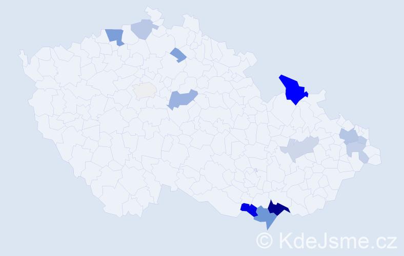 Příjmení: 'Bolfíková', počet výskytů 57 v celé ČR