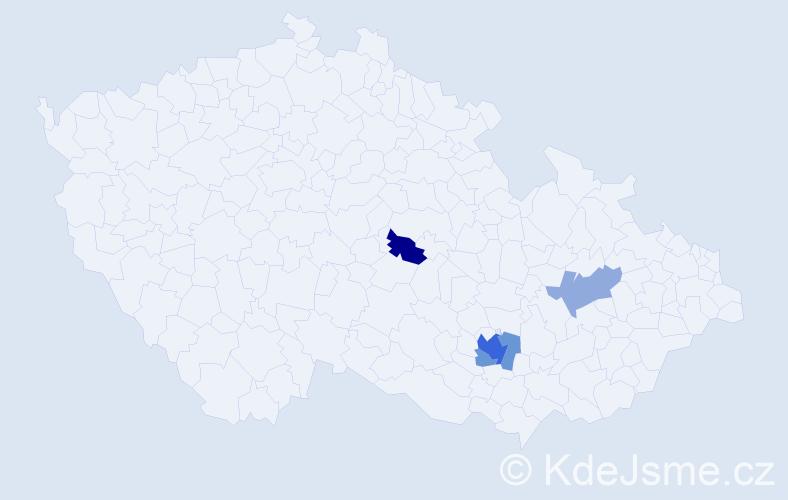 Příjmení: 'Ceypová', počet výskytů 9 v celé ČR