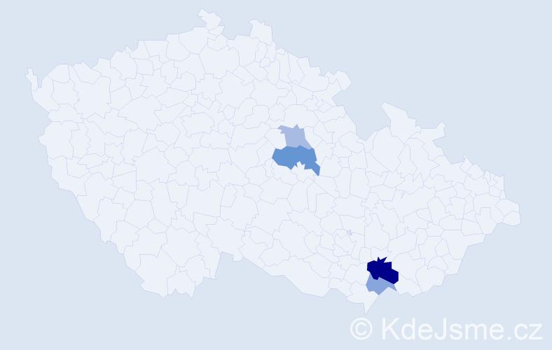 Příjmení: 'Čejglová', počet výskytů 8 v celé ČR