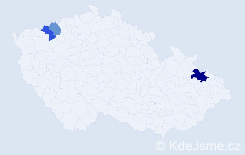 Příjmení: 'Binčík', počet výskytů 5 v celé ČR