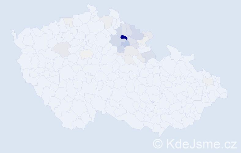 Příjmení: 'Brádle', počet výskytů 105 v celé ČR
