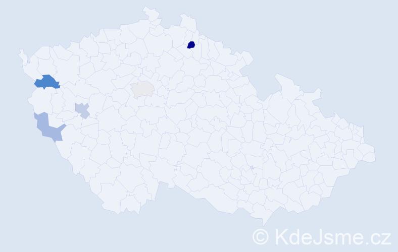 Příjmení: 'Eckartová', počet výskytů 9 v celé ČR