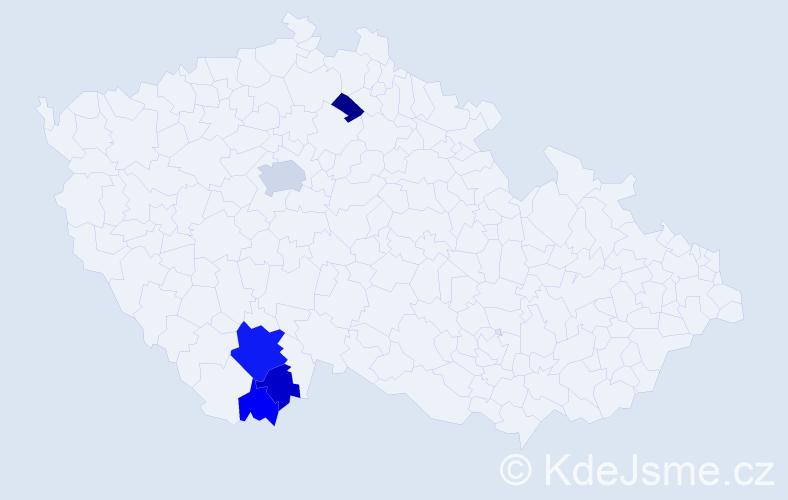 Příjmení: 'Cajkářová', počet výskytů 11 v celé ČR