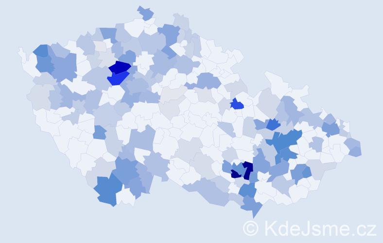 Příjmení: 'Krčková', počet výskytů 550 v celé ČR